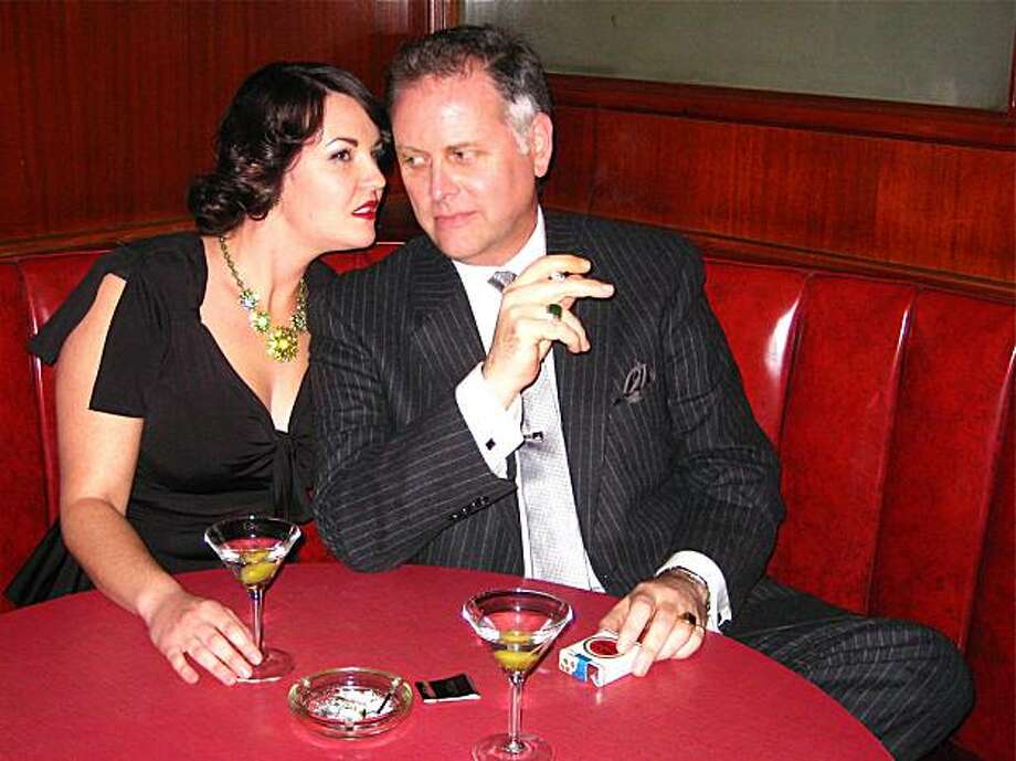 Actress Alycia Tumlin and Noir Film Festival Artistic Director Eddie Muller at Tosca Cafe where they shot a trailer which opens his January festival. December 2009. Photo: Catherine Bigelow, Special To The Chronicle