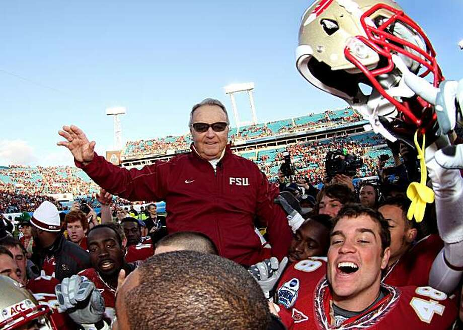 JACKSONVILLE, FL - JANUARY 01:  Head coach Bobby Bowden of the Florida State Seminoles is carried off the field by his players after defeating the West Virginia Mountaineers during the Konica Minolta Gator Bowl on January 1, 2010 at Jacksonville Municipal Stadium in Jacksonville, Florida. Florida State defeated West Virginia 33-21 in Bobby Bowden's last game as a head coach for the Seminoles.  (Photo by Doug Benc/Getty Images) Photo: Doug Benc, Getty Images