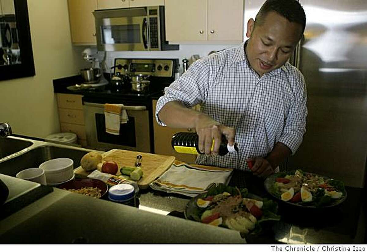 Daniel Sudar, chef of Red Lantern, puts the finishing touches on his dish, Gado-Gado, in his home on Monday, June 30, 2008, San Francisco, Calif. Red Lantern chef Daniel Sudar prepares Gado-Gado, his version of a traditional Indonesian dish, at his home. on Monday, June 30, 2008, San Francisco, Calif. Photo by Christina Izzo / The Chronicle
