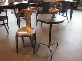 A 1940s era bakelite-topped French bistro table at Will Wick's shop, Battersea, in San Francisco.