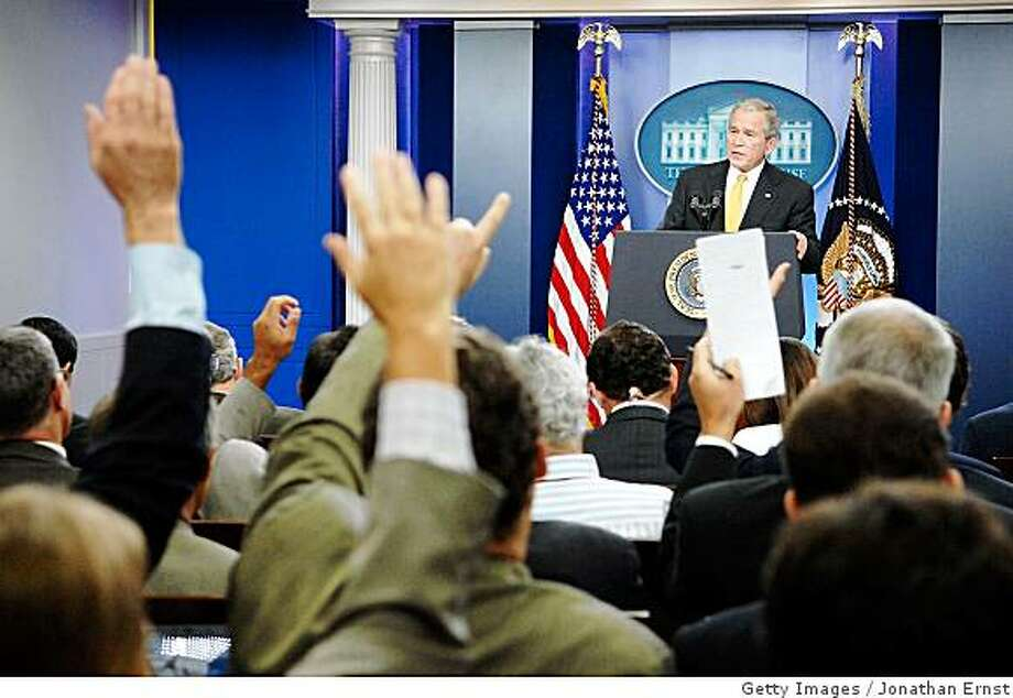WASHINGTON - JULY 15: U.S. President George W. Bush addresses reporters during a press conference in the briefing room at the White House July 15, 2008 in Washington, DC. Bush addressed oil prices and energy policy, the wars in Iraq and Afghanistan and the economy, among other topics. (Photo by Jonathan Ernst/Getty Images) Photo: Getty Images