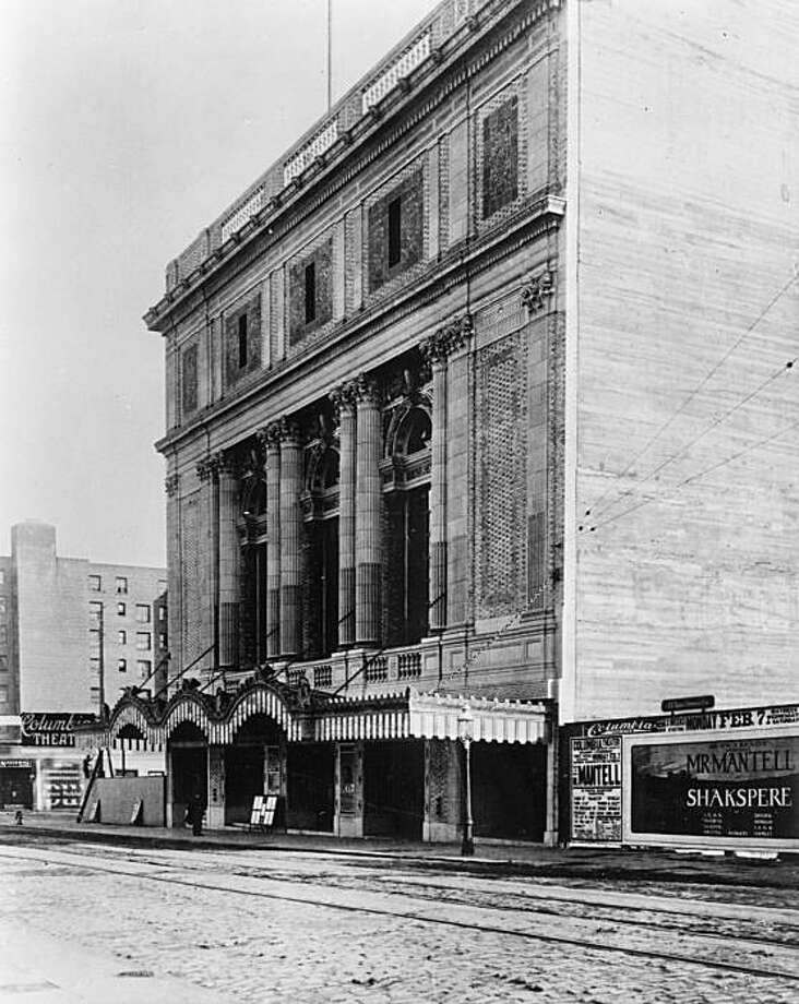 "The exterior of the Columbia Theatre in 1910. Widely respected local architects William Faville and Walter Bliss—designers of San Francisco's St. Francis Hotel, Southern Pacific Building, and Bank of California Building—are selected to design the new Columbia. The neoclassical design, with a touch of the baroque, gracefully blends a lively mix of theatrical architectural styles, including tripartitioned Roman arches, late-Renaissance Italian commedia dell'artearches, and arch-framing Greek urns. Called a ""perfect playhouse"" by the San Francisco Chronicle and a ""splendid temple of drama"" by the Bulletin, the new Columbia receives rave reviews. Photo courtesy A.C.T. Photo: Courtesy ACT"