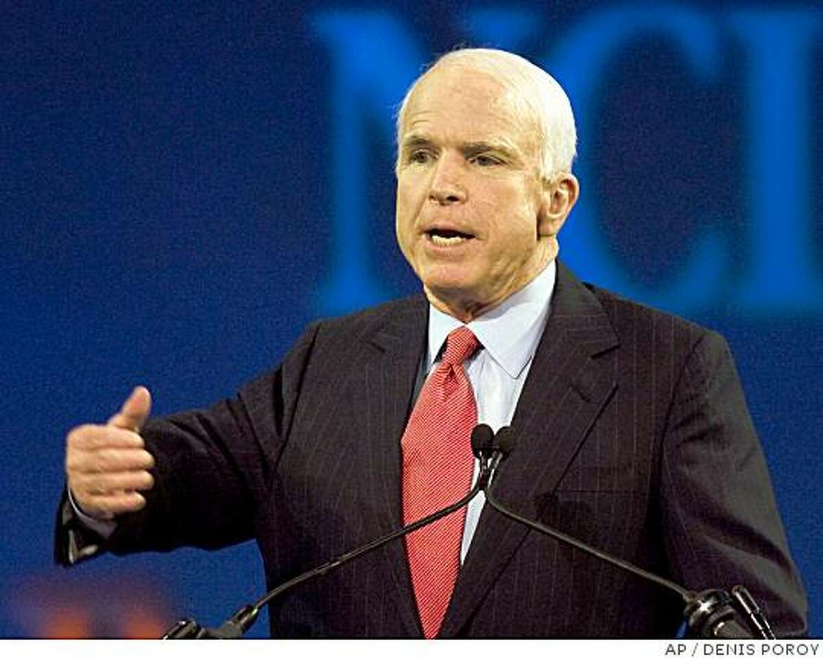 Republican presidential candidate, Sen. John McCain, R-Ariz., speaks at the National Council of La Raza annual convention in San Diego, Calif., Monday, July 14, 2008. (AP Photo/Denis Poroy)