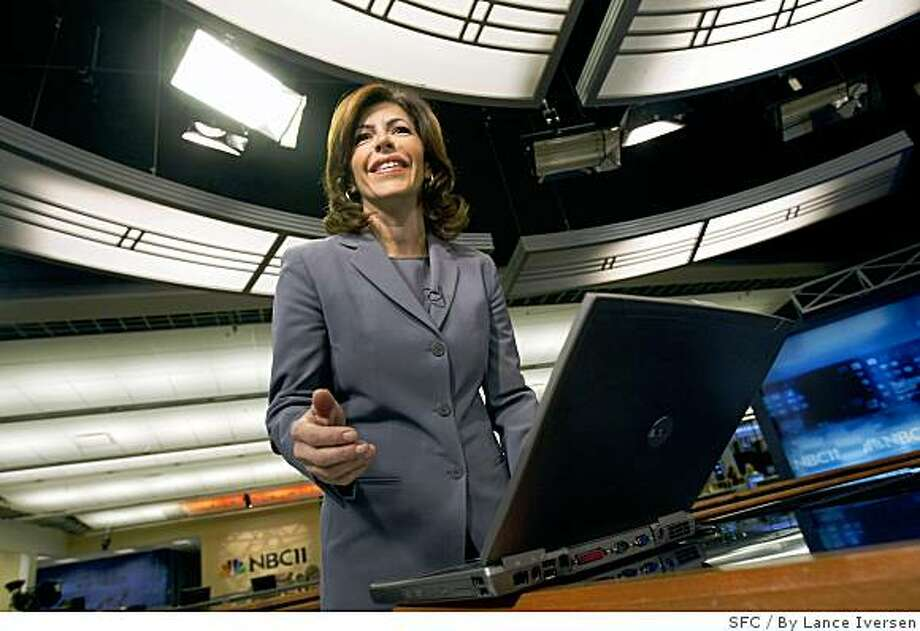 "Jessica Aguirre chats with the control room while reading her viewer responses today a poll question of the day. NBC11, the Bay Area affiliate is debuting a new wrinkle to their 5 p.m. newscast that is simultaneously a ground-breaking way to communicate with its viewers and insanely terrifying: It is enabling its viewers to engage in a live chat with its anchor Jessica Aguirre during the newscast. So that means that there's a chance that Aguirre could be chatting online, on-air, with some comic genius that could post something like, ""You suck, or you should have stayed at Channel 7."" Taking that chance is worth it, station officials say, to keep up with other media, particularly online, in which commenting has become an integral part of the conversation between viewers and anchor. August 16, 2007. Lance Iversen/The Chronicle (cq Photo: By Lance Iversen, SFC"