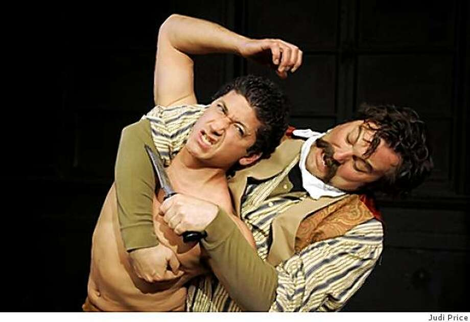 "Michael Vega (left) as Ishi and Christopher Libby as Hiram in John Fisher's ""Ishi: The Last of the Yahi"" at Theatre Rhinoceros. Photo: Judi Price"