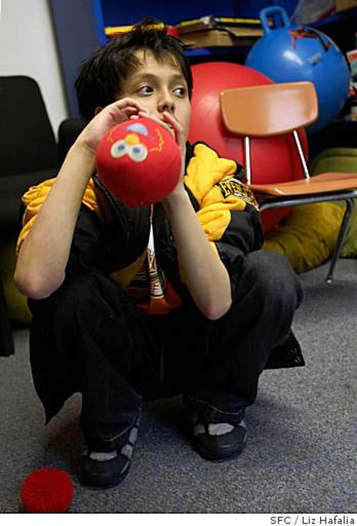 Jonah Kasoff, an 11 year old autistic child, taking a short break between lessons with his para professional at Yick Wo elementary school in San Francisco, CA, on Monday, Feb.25, 2008. There is a rise in autistic children in California schools. Photo by Liz Hafalia/San Francisco Chronicle