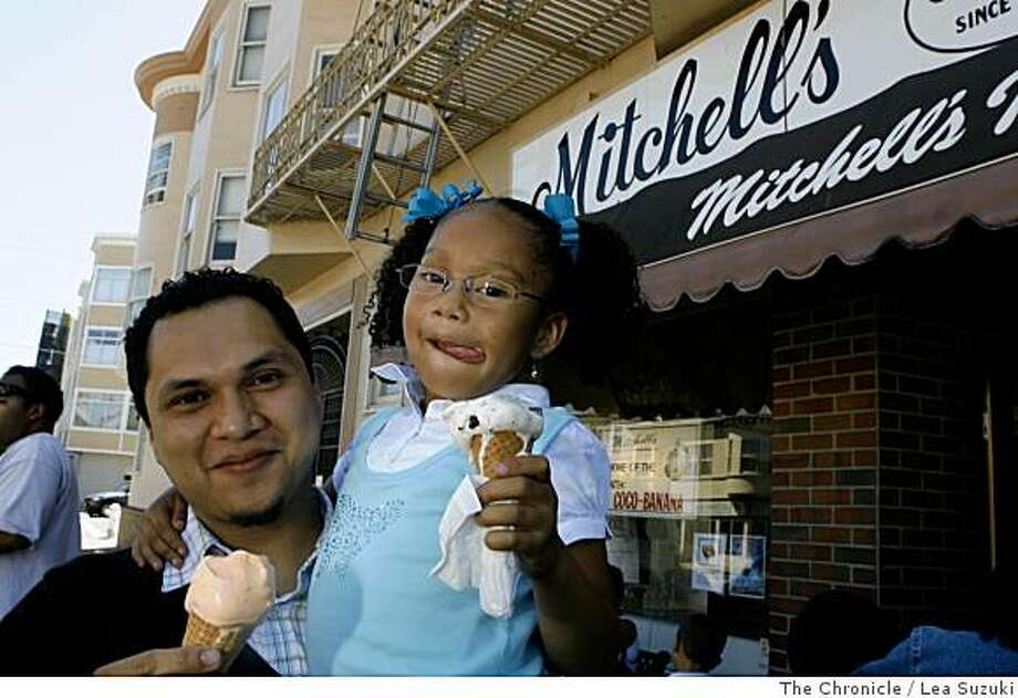 Jonnatan Leiva (l to r), Chef from Jack Falstaff,  and his niece Genesis Williams, 6, prepare to enjoy an ice cream outside Mitchell's Ice Cream.  Jonnatan is photographed for an On The Town profile at Mitchell's Ice Cream in San Francisco, Calif. on Wednesday June 11, 2008. Photo By Lea Suzuki/ The Chronicle Photo: Lea Suzuki, The Chronicle