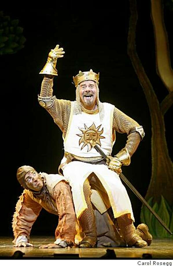 Gary Beach as King Arthur and Brad Bradley as Patsy In the National Touring Production of Monty Python's SPAMALOT PhotoCredit: Carol Rosegg Photo: Carol Rosegg