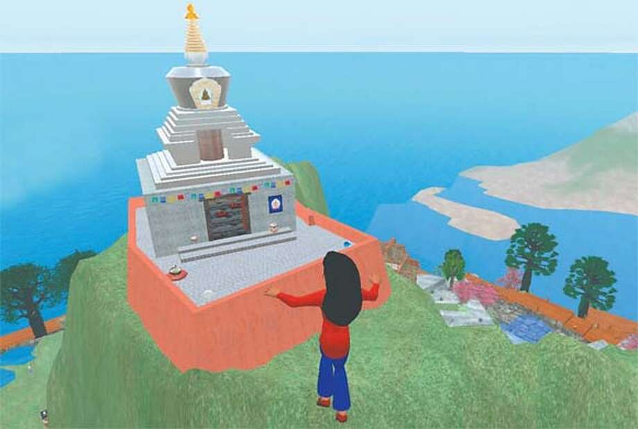The author�s avatar approaches the Tibetan Buddhist temple in the virtual worldSecond Life, where the Support for Healing Island offers an array of therapeutic options and support groups.