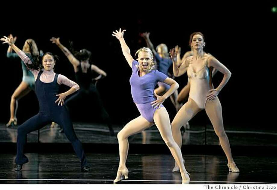 "Jessica Wu, Natalie Elise Hall, and Emily Fletcher, from left, during the opening number of ""A Chorus Line"" on Wednesday, July 9, 2008, San Francisco, Calif.Matinee performance of ""A Chorus Line,""which is coming back to Best of Broadway at Curran Theatre on Wednesday, July 9, 2008, San Francisco , Calif. Photo by Christina Izzo / The Chronicle Photo: Christina Izzo, The Chronicle"