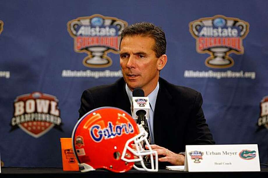 NEW ORLEANS - DECEMBER 27:  Head coach Urban Meyer of the University of Florida Gators speaks during a press conference on December 27, 2009 in New Orleans, Louisiana.  Meyer is going to take a leave of absense from the team due to health concerns.  (Photo by Chris Graythen/Getty Images) Photo: Chris Graythen, Getty Images
