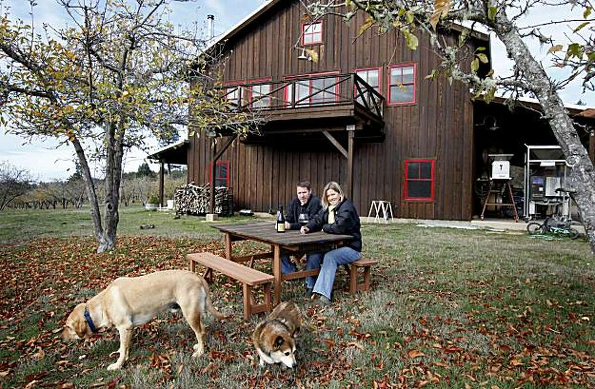 The Drews live above their winery set in the country. Jason Drew of Drew Wines and his wife Molly run their winery in the small town of Elk, just east of the Mendocino coast.