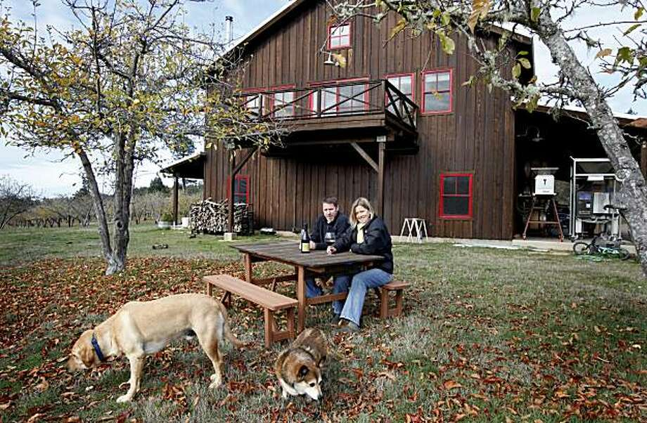 The Drews live above their winery set in the country. Jason Drew of Drew Wines and his wife Molly run their winery in the small town of Elk, just east of the Mendocino coast. Photo: Brant Ward, The Chronicle