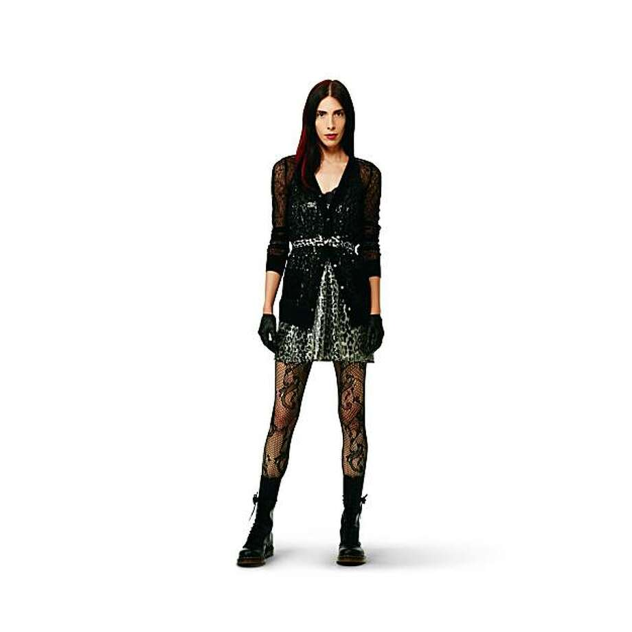 A look from the Rodarte for Target Go collection:  Sequin dress in gray leopard ($44.99),  black lace cardigan ($29.99), bow belt in gray leopard, ($12.99) and black lace tights ($12.99). Photo: Target