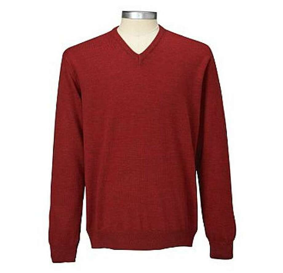 Men's Merino Wool V-Neck Sweater Photo: Travelsmith