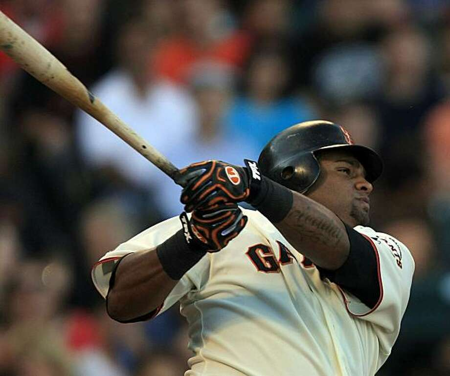 San Francisco Giants Pablo Sandoval hits a home run (splash hit) off the Colorado Rockies his first at bat at AT&T Park on August 29, 2009. Photo: Frederic Larson, The Chronicle