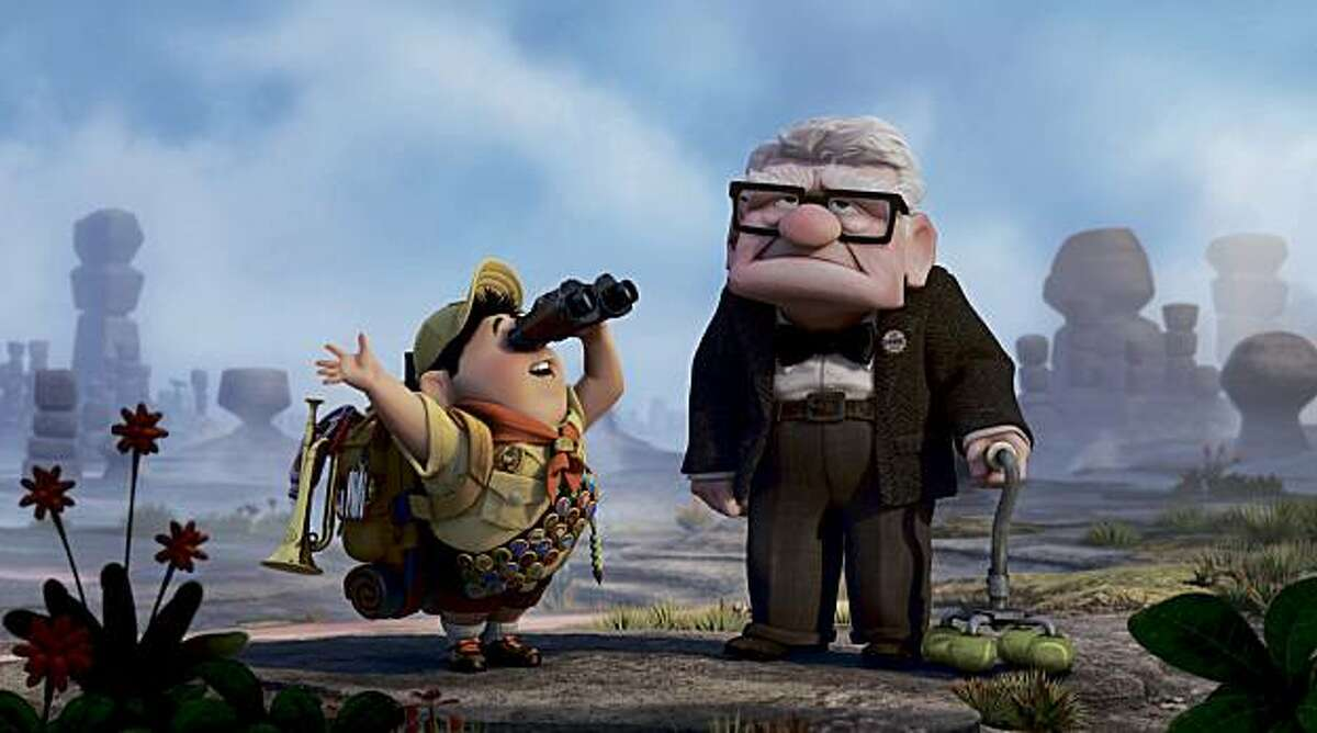 """Russell, left, and Carl Fredricksen in the 2009 film """"Up,"""" by Pixar."""