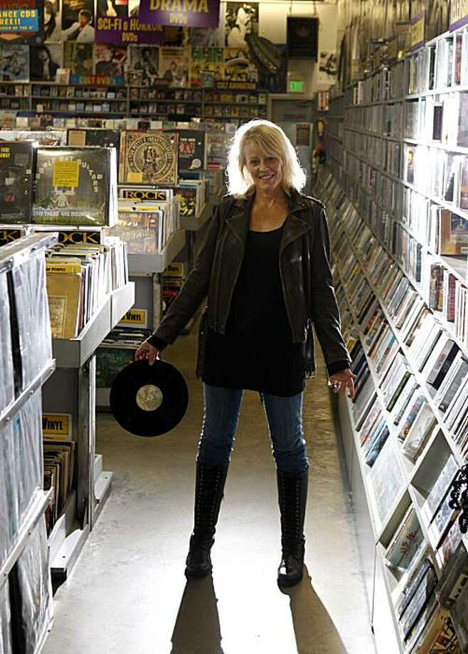 "Yvonne Prinz, wife of Amoeba Records cofounder and author a new young adult novel called ""The Vinyl Princess,"" stands for a portrait at Amoeba on Tuesday Dec. 8, 2009 in Berkeley, Calif. Photo: Mike Kepka, The Chronicle"