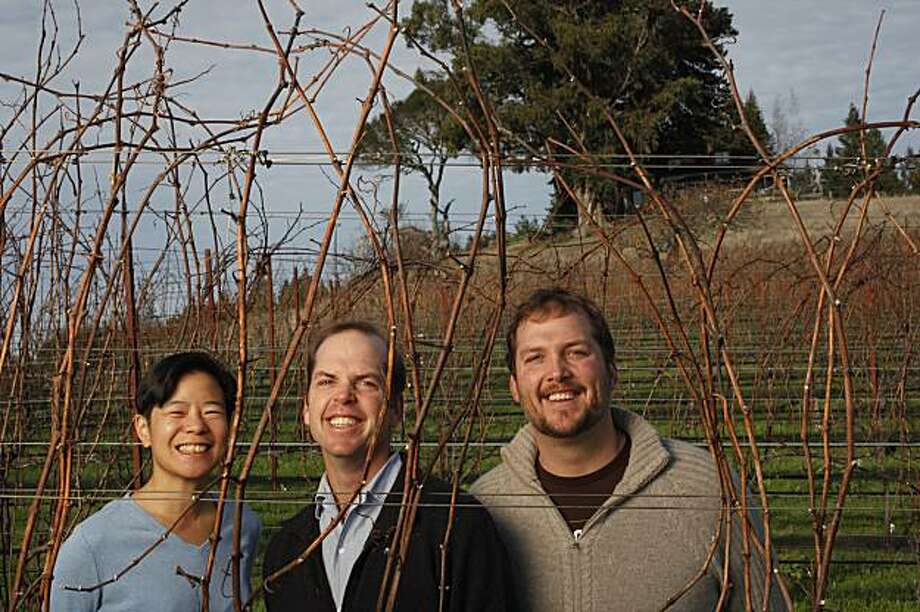 Vanessa Wong (left), Nick Peay (middle) and Andy Peay (right) of Peay Vineyards in Annapolis, Calif., on December 17, 2009. Photo: Craig Lee, Special To The Chronicle