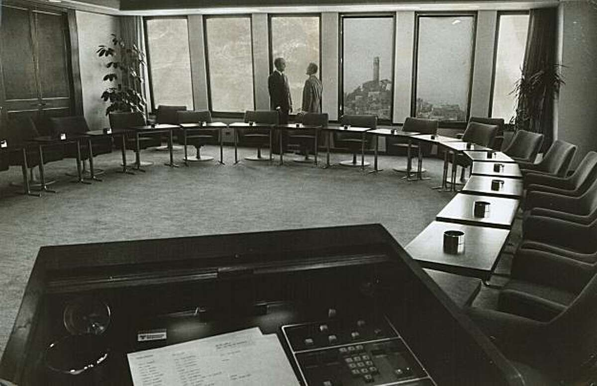 """The transamerica Corp. boardroom. In foreground is """"James Bond"""" control panel."""