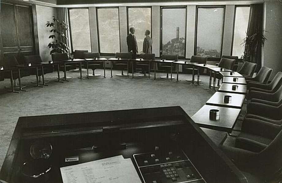 "The transamerica Corp. boardroom. In foreground is ""James Bond"" control panel. Photo: Jerry Telfer, The Chronicle 1973"