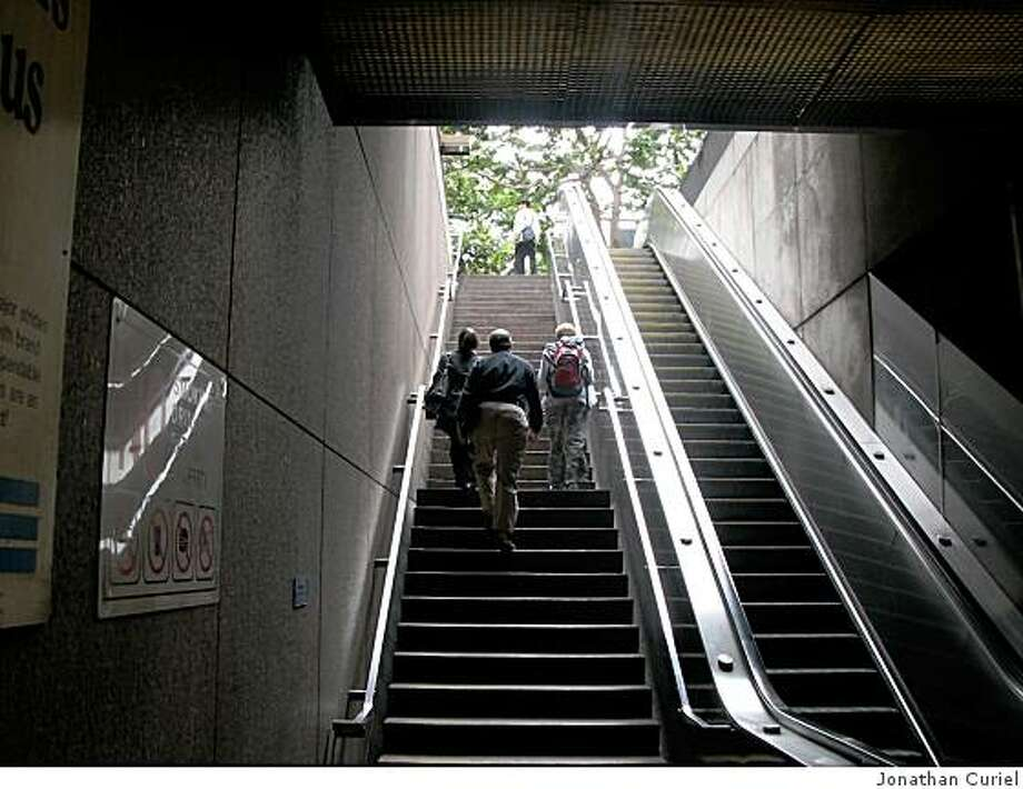 The stairwell at BART's Embarcadero station that leads up to the Hyatt Hotel. Photo: Jonathan Curiel
