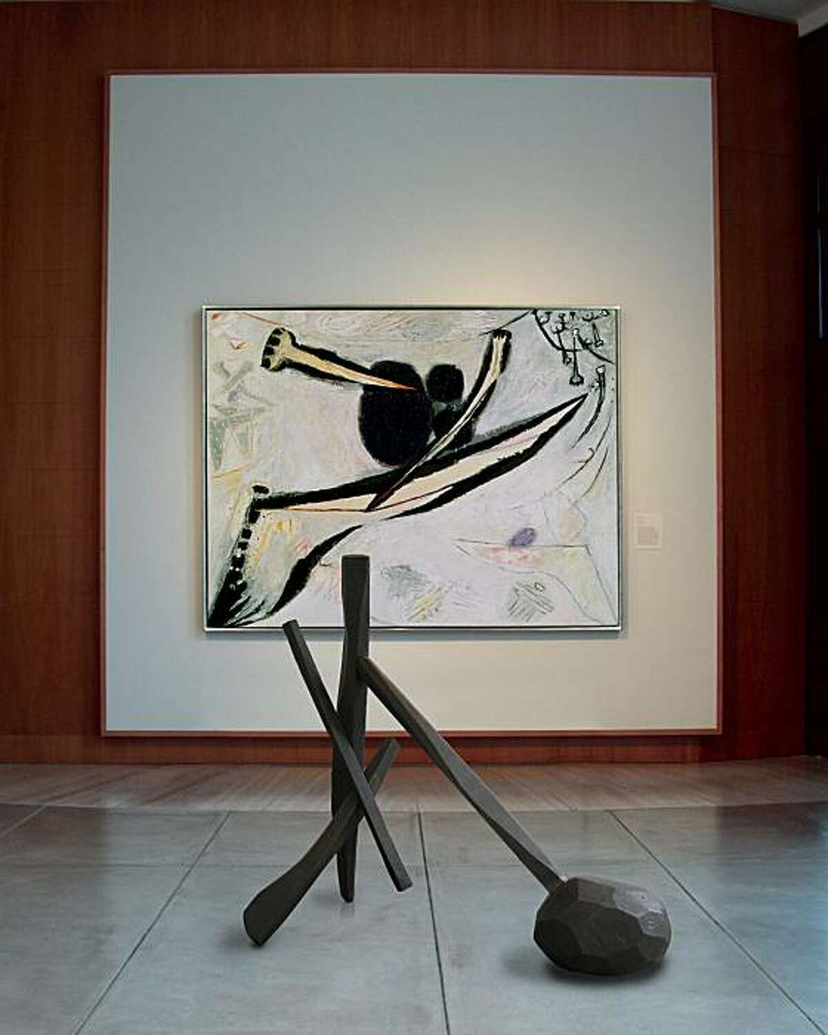 """""""Victim"""" (1962), bronze sculpture by Isamu Nogochi, shown in front of """"Fall 1964"""" (1964) oil on canvas by Frank Lobdell at Stanford's Cantor Center for Visual Arts. 60.5"""" x 60"""" x 29"""""""