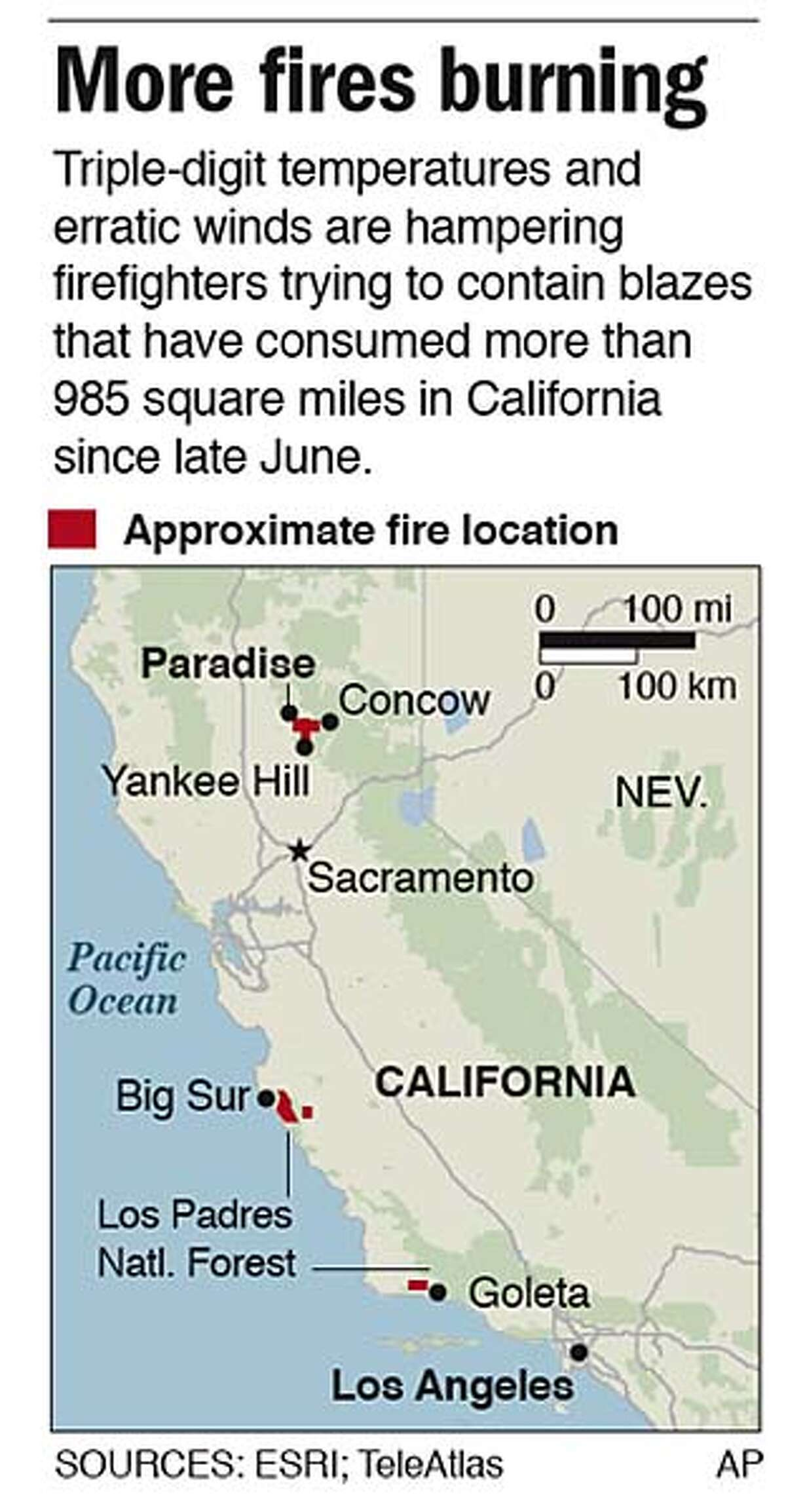 Map of wildfires in California. Associated Press graphic by William Castello