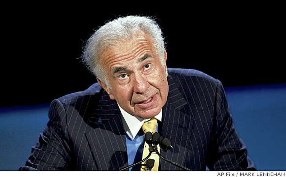 Reports emerging that billionaire Carl Icahn may start a fight to control board of Yahoo Inc. ** FILE ** Private equity investor Carl Icahn speaks at the World Business Forum in this Oct. 11, 2007, file photo in New York. After shooing away Oracle Corp.'s $6.7 billion takeover bid, business software maker BEA Systems Inc. dug in its heels for a potentially disruptive battle with its largest shareholder, activist investor Icahn. In a letter sent to Icahn Monday, Oct. 29, 2007, BEA's board of directors reiterated its willingness to sell the San Jose-based company for $21 per share, about $1.5 billion more than Oracle offered before retracting the bid late Sunday. (AP Photo/Mark Lennihan, file) Photo: MARK LENNIHAN, AP File