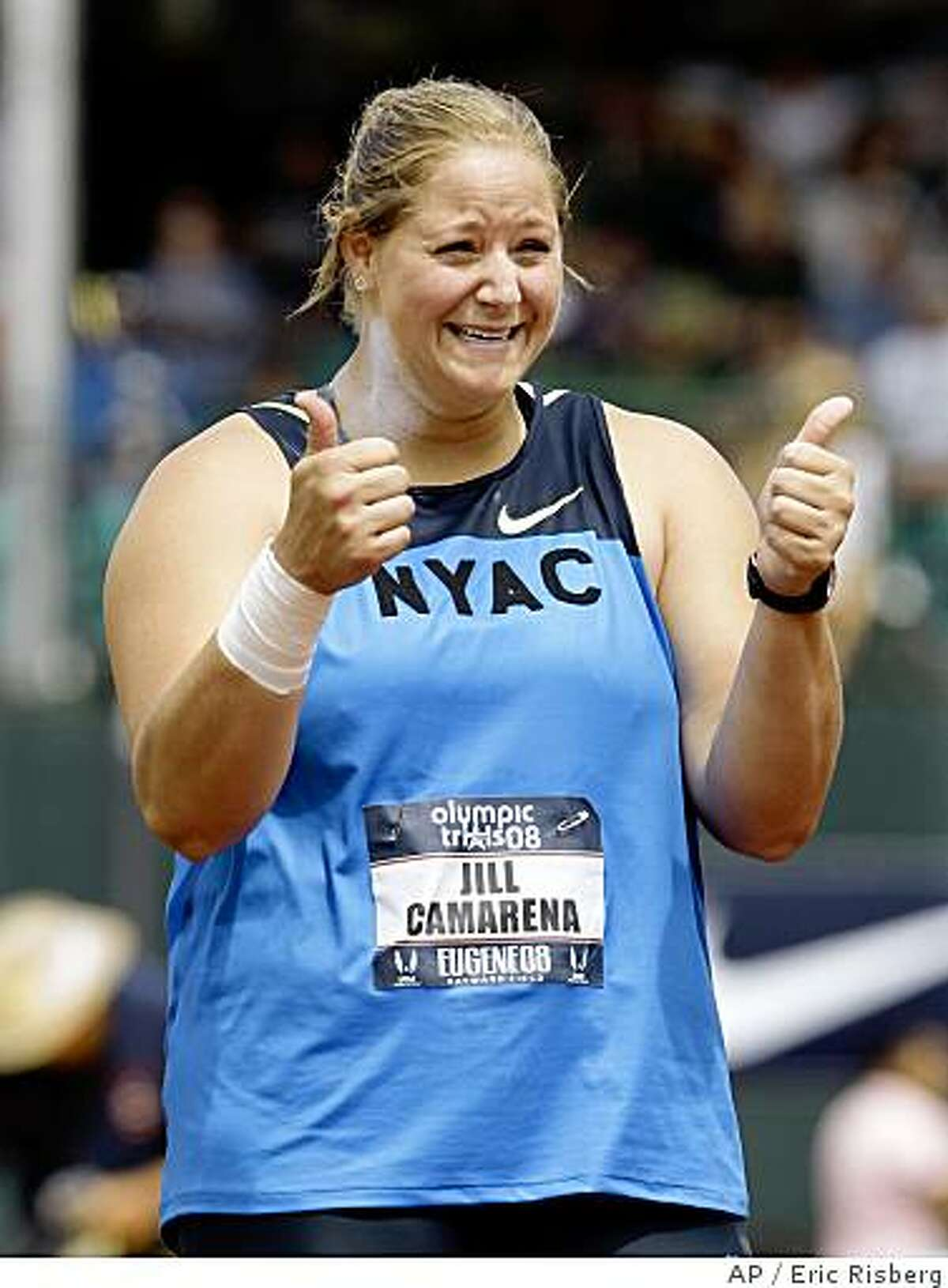 Jillian Camarena reacts after one of her throws during the women's shot put final at the U.S. Olympic Track and Field Trials in Eugene, Ore., Saturday, July 5, 2008. Camarena placed third in the event. (AP Photo/Eric Risberg)