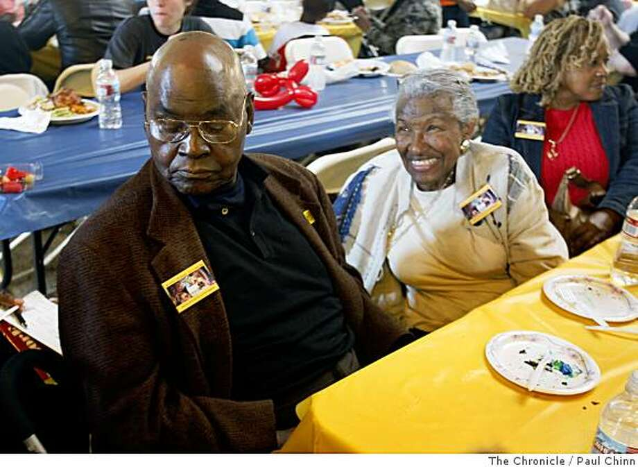 Cleophas Williams, left, relaxes after a memorial service at the ILWU union hall to commemorate the anniversary of the 1934 port workers strike, where two men died in a bloody confrontation with police, in San Francisco, Calif., on Saturday, July 5, 2008. Williams became the first African-American president of the local ILWU chapter in 1967.Photo by Paul Chinn / The Chronicle Photo: Paul Chinn, The Chronicle
