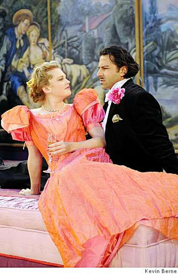 "Sarah Nealis (Mabel Chiltern) and Elijah Alexander (Lord Goring) in ""An Ideal Husband."" Photo: Kevin Berne. Photo: Kevin Berne"