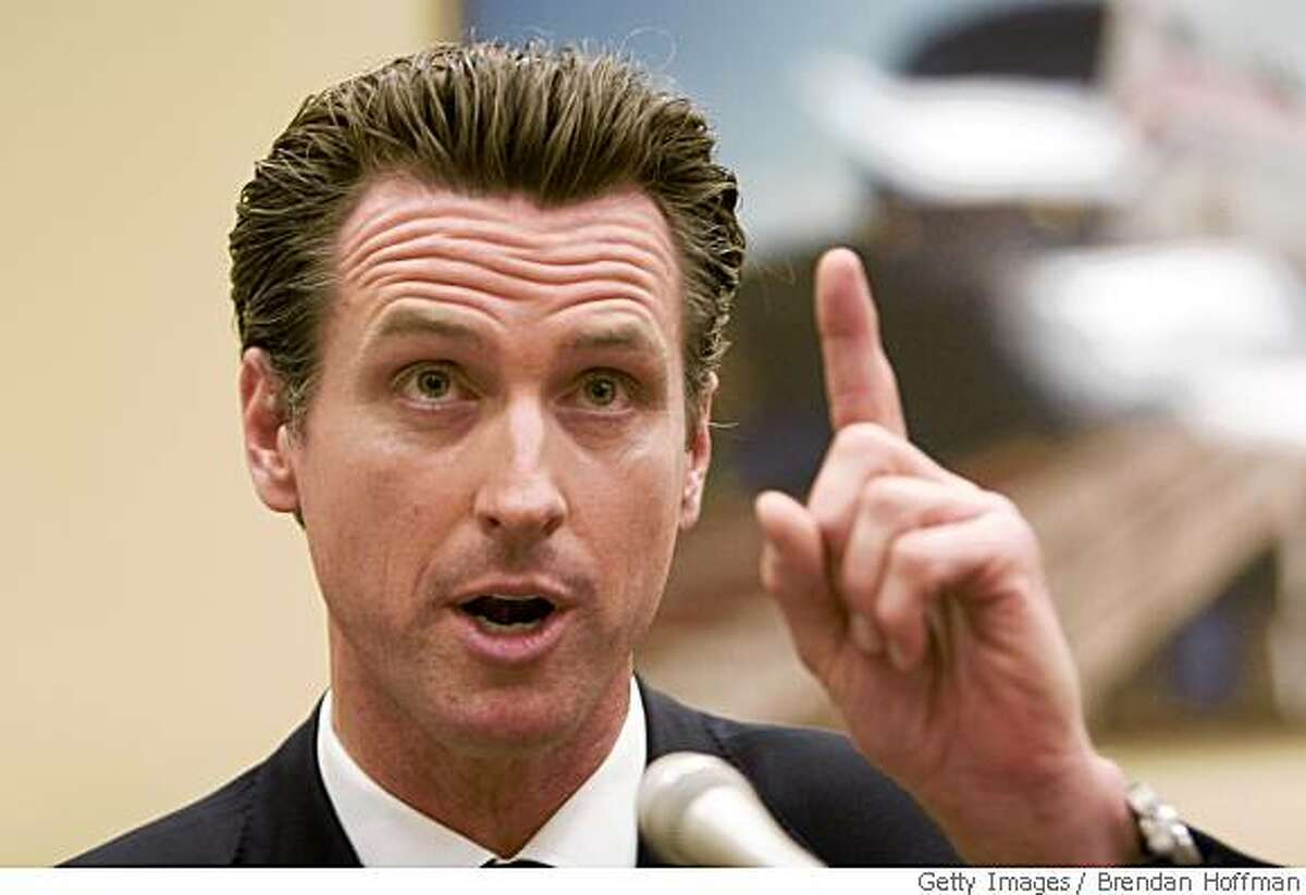 WASHINGTON - MAY 14: San Francisco Mayor Gavin Newsom testifies at a hearing on Capitol Hill on green building standards May 14, 2008 in Washington, DC. Actor Ed Norton testified in his capacity as a trustee for the Enterprise Foundation. (Photo by Brendan Hoffman/Getty Images)