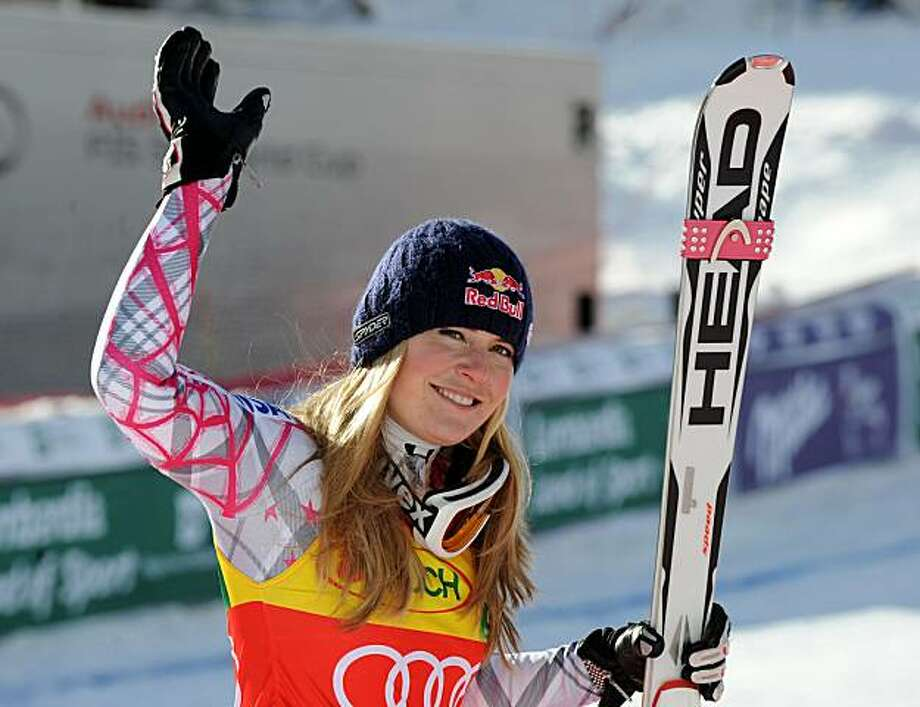 Lindsey Vonn, of the US, celebrates after finishing third in an alpine ski Women's World Cup Super G race, in Val D'Isere, France, Dec. 20, 2009. (AP Photo/Giovanni Auletta) Photo: Giovanni Auletta, AP