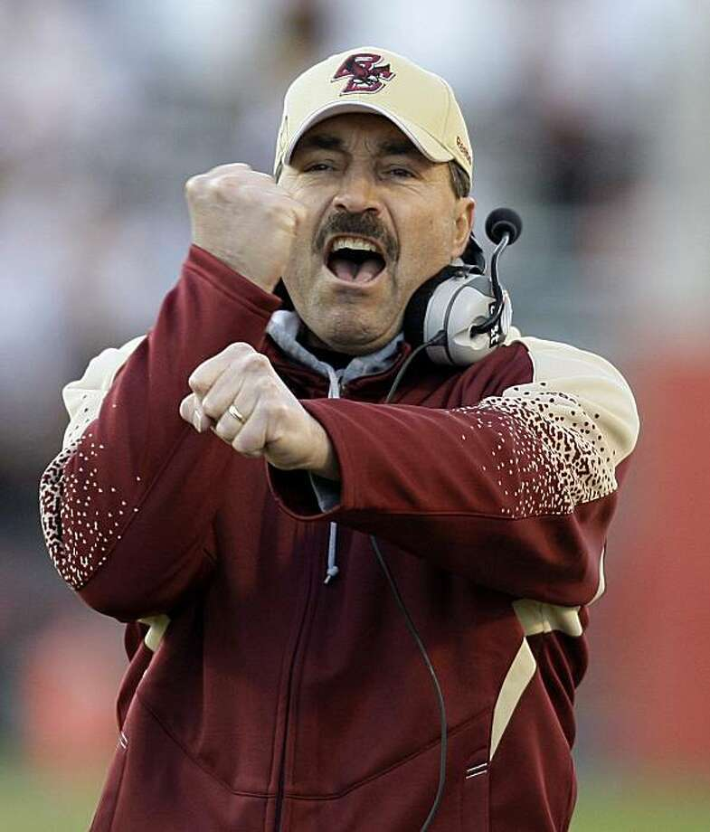 Boston College coach Frank Spaziani reacts to an officials call during the first half of an NCAA college football game against Maryland, Saturday, Nov. 28, 2009, in College Park, Md. (AP Photo/Rob Carr) Photo: Rob Carr, AP