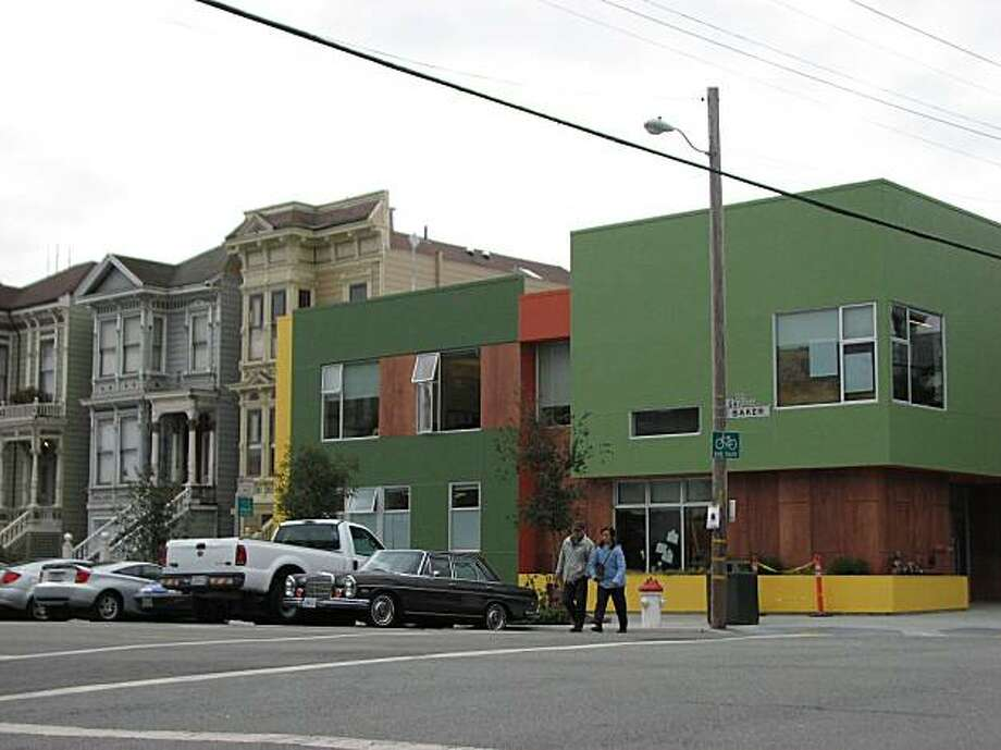 Pacific Primary School's new building at 1501 Grove St. is a colorful addition to a traditional part of San Francisco. The architect is Tom Eliot Fisch Photo: John King, The Chronicle