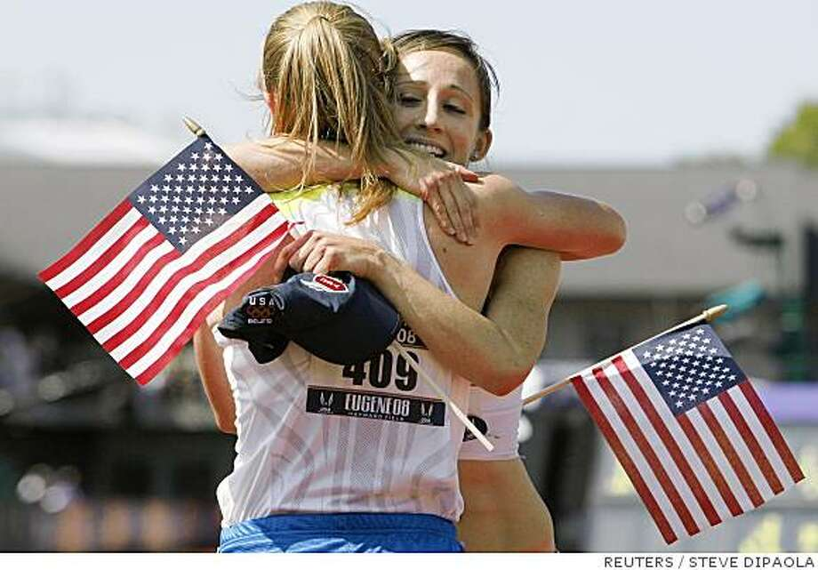 Shannon Rowbury (R) celebrates with second place finisher Erin Donohue (L) after winning the women's 1500 meters final at the U.S. Olympic Track and Field Trials in Eugene, Oregon, July 6, 2008.    REUTERS/Steve Dipaola   (UNITED STATES)  (BEIJING OLYMPICS 2008 PREVIEW) Photo: STEVE DIPAOLA, REUTERS