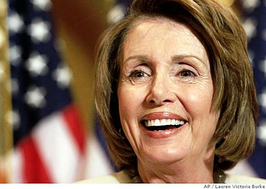 House Speaker Nancy Pelosi of Calif. smiles during her weekly news conference, Thursday, June 5, 2008, on Capitol Hill in Washington. (AP Photo/Lauren Victoria Burke) Photo: Lauren Victoria Burke, AP