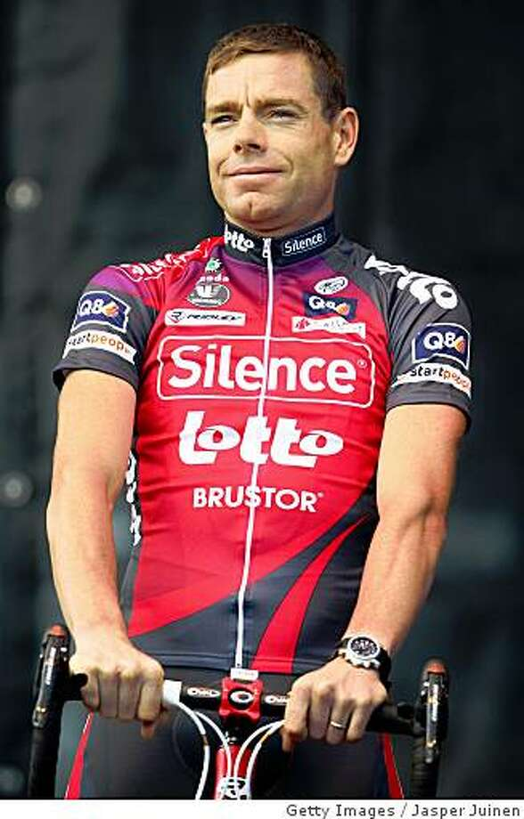 BREST - JULY 03:  Cadel Evans of Austrialia and team Silence - Lotto during the presentation of the team on July 3, 2008 in Brest, France. Evens will compete in the 95th edition of the Tour de France cycling race which will start on July 5 in Brest, France.  (Photo by Jasper Juinen/Getty Images) Photo: Getty Images