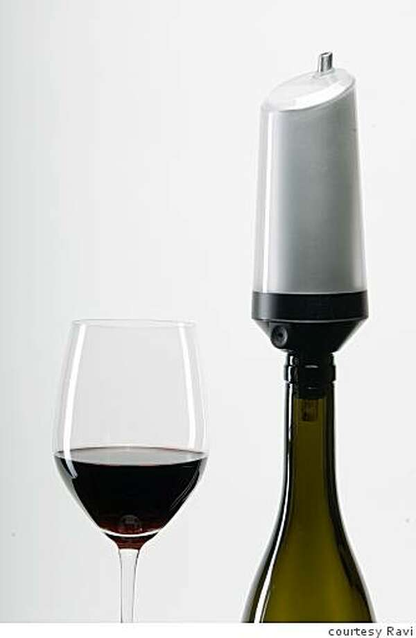 The Ravi Instant Wine Chiller cools wine to ideal temperature as it's poured from the bottle. Photo: Courtesy Ravi