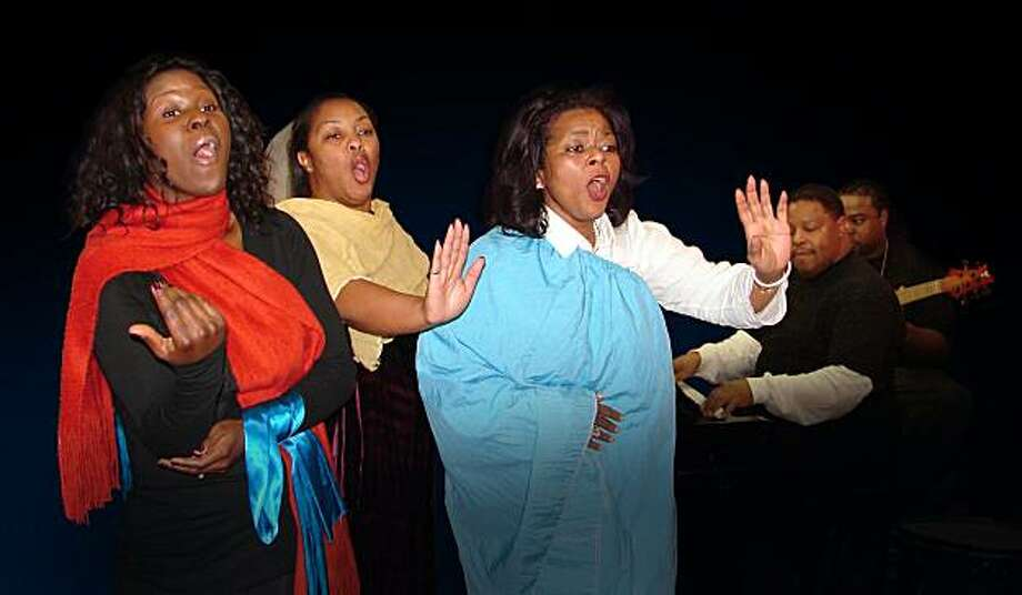 "L to R) Angel Burgess, April Wright-Hickerson and Elizabeth A. Princess Lane, with Kenneth Little on keyboards and James ""Booyah"" Richard on bass, in rehearsal for Lorraine Hansberry Theatre's Black Nativity: A Gospel Celebration of Christmas, which will be in production December 16 through 27, 2009, at the Marines' Memorial Theatre, 609 Sutter Street, San Francisco, CA   (L to R) Angel Burgess, April Wright-Hickerson and Elizabeth A. Princess Lane, with Kenneth Little on keyboards and James ""Booyah"" Richard on bass, in rehearsal for Lorraine Hansberry Theatre's Black Nativity: A Gospel Celebration of Christmas, which will be in production December 16 through 27, 2009, at the Marines' Memorial Theatre, 609 Sutter Street, San Francisco, CA Photo: Marc Paquette"