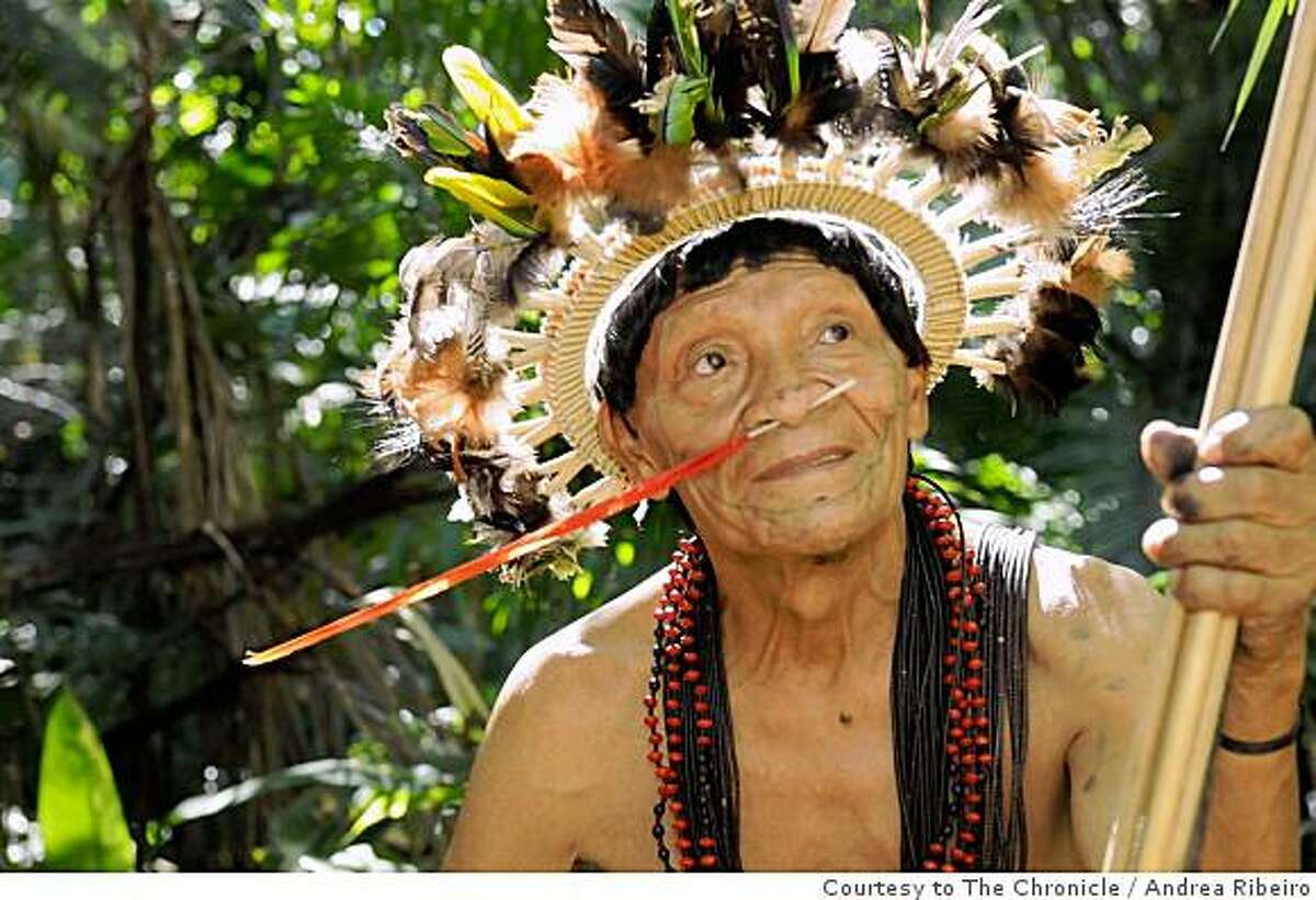 Chief Almir's father, Chief Maribop, sits in the Surui village of La Petanha, Brazil on June 20, 2008. Andrea Ribeiro / Courtesy to The Chronicle