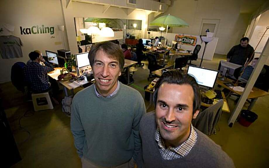 CEO Andy Rachleff and co-founder Dan Carroll, from left, pose for a portrait inside their offices at KaChing, a Palo Alto startup pitching itself as tech-enhanced alternative to mutual funds.  The company taps into social networking to provide what it promises is more transparent investment guidance. Photo: Adam Lau, The Chronicle