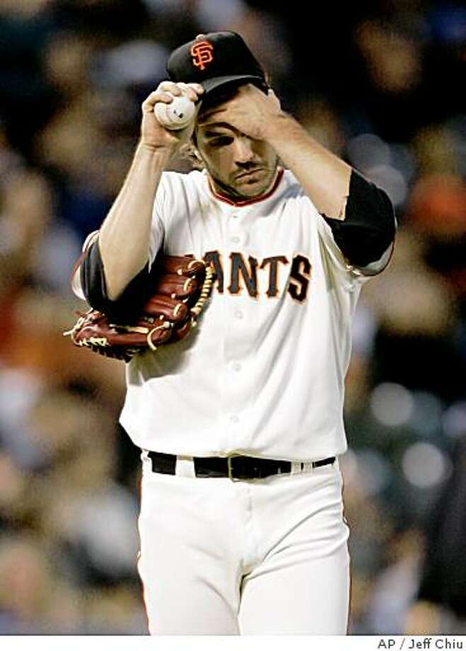 San Francisco Giants' Barry Zito reacts after giving up a two-run home run to Chicago Cubs' Mark DeRosa in the fifth inning of a baseball game in San Francisco, Monday, June 30, 2008. (AP Photo/Jeff Chiu) Photo: Jeff Chiu, AP