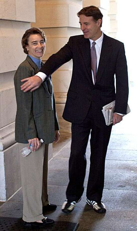 Sen. Blanche Lincoln, D-Ark., and Sen. Evan Bayh, D-Ind., are seen outside of the Senate Carriage entrance following the vote and passage of the $1.1 trillion spending bill Capitol Hill in Washington, Sunday, Dec. 13, 2009.(AP Photo/Harry Hamburg) Photo: Harry Hamburg, AP