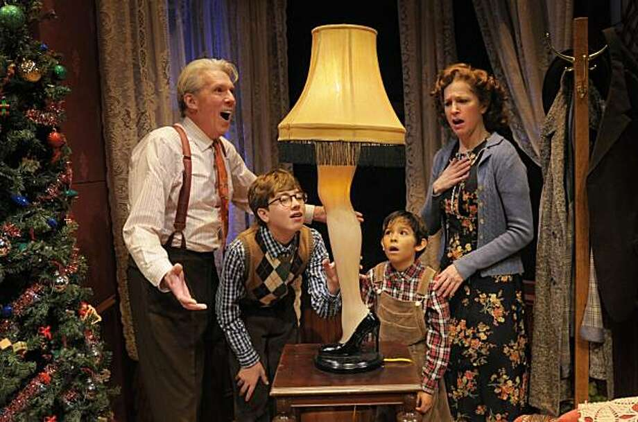 "Howard Swain (left), Garrett Meyer, Emilio Fuentes and Nancy Carlin play the Parker family in San Jose Repertory Theatre's ""A Christmas Story"" Photo: Kevin Berne"
