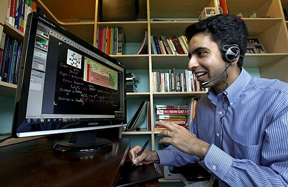 """Salman Khan the creator of the Kahn Academy, displays """"Cellular Respiration"""", one of his many educational tutorials,  which is found on YouTube. Kahn in his home studio, at his Mountain View, Ca. on Tuesday December 9, 2009 Photo: Michael Macor, The Chronicle"""