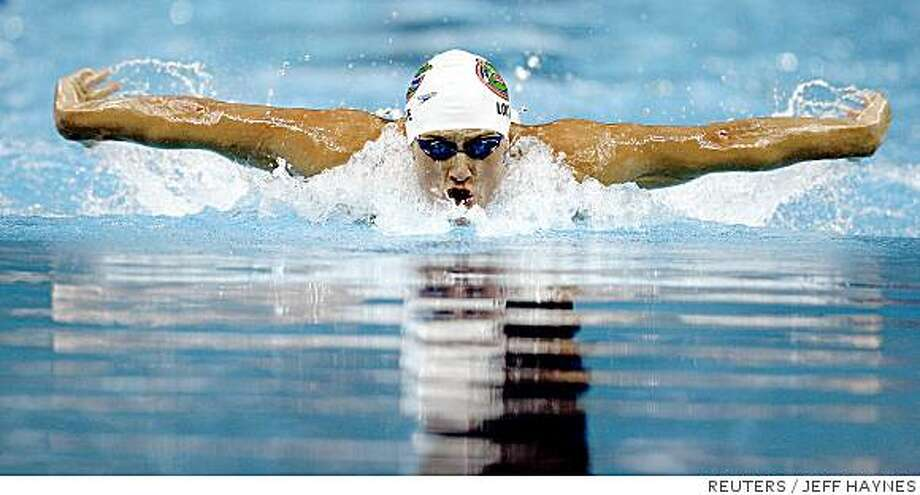 Ryan Lochte swims in the Men's 400m Individual Medley at the U.S. Olympic Swimming Trials in Omaha, Nebraska, June 29, 2008.   REUTERS/Jeff Haynes  (UNITED STATES)   (BEIJING OLYMPICS 2008 PREVIEW) Photo: JEFF HAYNES, REUTERS