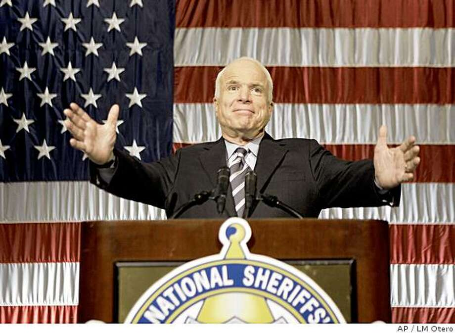 Republican presidential candidate Sen. John McCain, R-Ariz., greets the National Sheriffs' Association meeting in Indianapolis, Tuesday, July 1, 2008. (AP Photo/LM Otero) Photo: LM Otero, AP