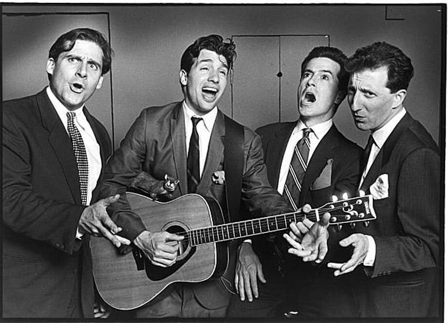 "In this 1993 photo from The Second City archives is, from left: Steve Carell, Paul Dinello, Stephen Colbert and David Razowsky singing ""The Obvious Song"" from Take Me Out to The Balkans. (AP Photo/Courtesy The Second City) **NO SALES* Photo: AP"